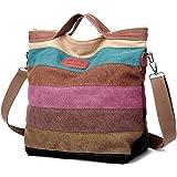 Handtaschen Damen,COOFIT Canvas Tasche Damen Umhängetasche Multicolor Tasche Canvas Damentasche Multi-Color-Striped Schultasche Canvas Shopper Tasche