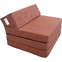 Matelas lit fauteuil futon pliable pliant choix des couleurs - longueur 200 cm (1000-Marron Clair-Microfiber)