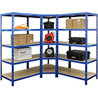 Mega Deal   2x Scaffali per carichi pesanti + 1x Scaffale d'angolo   Blu   Scaffale metallo Scaffalatura per il garage