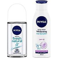 NIVEA Deodorant Roll-on, Fresh Natural, 50ml & Body Lotion, Whitening Cool Sensation (SPF 15), 200ml Combo
