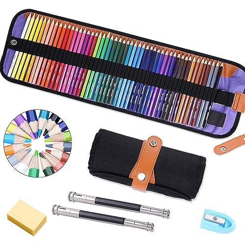 Matite Colorate Set,Set da 50 Pezzi Pastelli Colorati,Ideali per Sfumare e Stratificare,Art Supplies per libri da colorare per adulti o per il materiale scolastico dei bambini