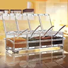 HS-STORE's 4 Plastic Grid Masala Spice Holder Set/Jar Storage Box Container