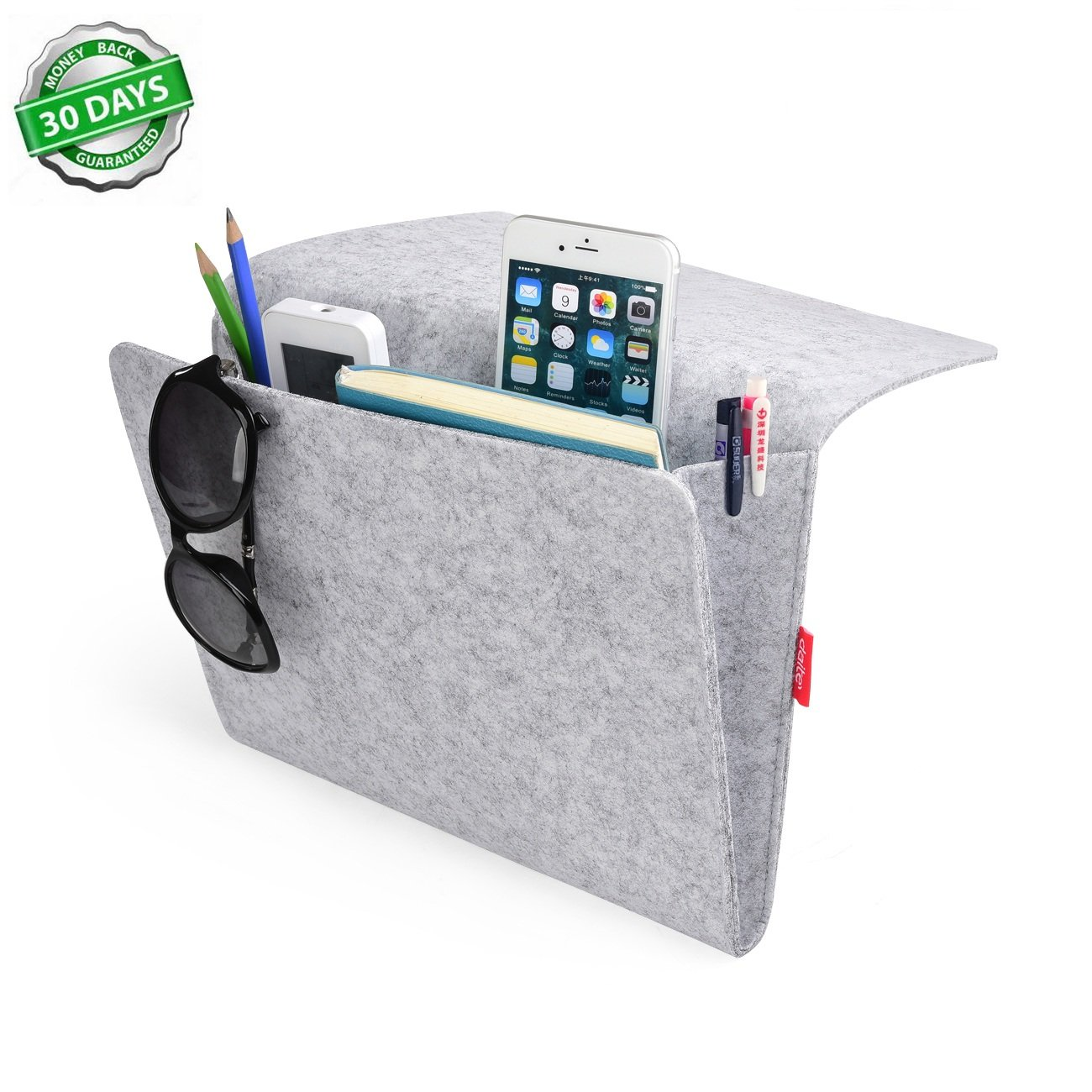 Grey bedside pocket caddy storage organizer bed organizing for Sofa organizer