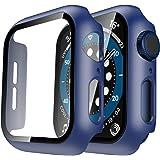TAURI 2Pack Funda para Apple Watch 44mm Serie 6 5 4 SE Estuche Rígido Delgado para PC Protector de Pantalla de Vidrio Templad