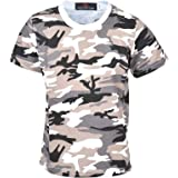 True Face Kids Boys Camo Tshirt Army Style Woodland Camouflage Shirt Military School PE Summer Top 2-13 Years