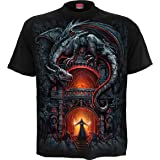 Spiral Dragon'S Lair Hombre Camiseta Negro, Regular