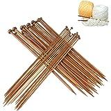 Dokpav 36Pcs 18 Tamaños Agujas de Tejer de Bambú (2.0mm a 10.0mm), Agujas de Madera, Agujas de Punto para Suéter, Proyecto de