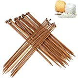 Natuce 36Pcs 18 tamaños Agujas de tejer de bambú (2.0mm a 10.0mm), Agujas de Madera, Agujas de Punto, para Suéter, Proyecto d