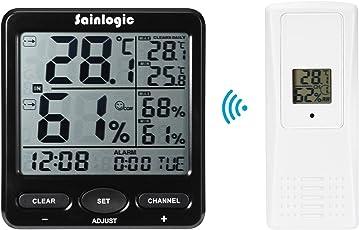 Sainlogic Wetterstation, Hygrometer Digital und Thermometer innen außen mit Wecker, große LCD-Anzeige für Haus, Garten und das Büro