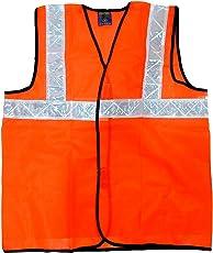 Volman Reflective Safety Jacket || Net Type || Cross Belt High Visibility Flourescent Jacket-80gsm (Pack of 1)