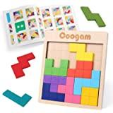 Coogam en Bois Tangram Puzzle modèle Bloque Le Jeu de Casse-tête avec 60 défis, 3D de Russe en Forme de Bois Montessori STEM