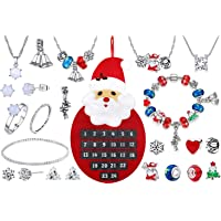 Christmas 2019 Advent Calendar Jewellery Jewelry 24 Days Countdown Made with Crystals From Swarovski Women Girls Xmas DIY Charm Bracelet Necklace Earrings Stud Ring Anklet Bracelet Gift