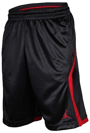 307e37561737 Air Jordan Mens Flight Knit Dri-Fit Basketball Shorts Black Red 846753 010 (