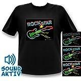 LED T-Shirt Equalizer Shirt Rockstar Mann Rock Gitarren Shirt
