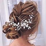 Unicra Flower Bride Hochzeit Haarrebe Silber Strass Kopfschmuck Brauthaar Zubehör für Frauen und Mädchen
