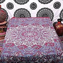 indian-hippie star-mandala wall-art twin-bed-size red-tapestry