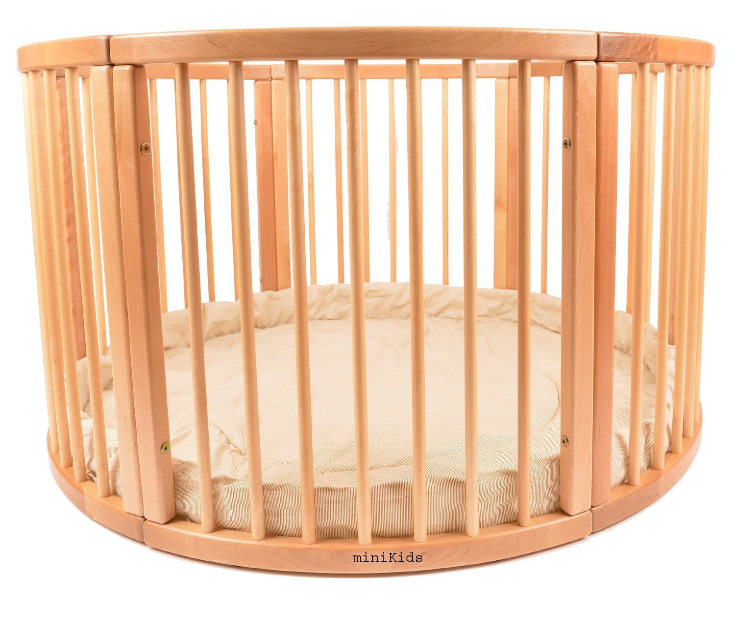 VERY LARGE WOODEN BABY PLAYPEN (Ø 120cm) WITH PLAYMAT (Stripes) miniKids Height 70 cm approx; Ø 120cm Playpen from ALANEL MADE IN EUROPE including Playmat 2
