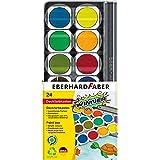 Eberhard Faber 578324 - Winner Deckfarbkasten mit 24 kräftigen Farben in austauschbaren Farbnäpfen, Deckweiß und Pinselfach,