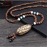 CXKEB Gioielli Nepal Fatti a Mano Collana Buddista con Perle di Legno di Mala Collana Bodhi Buddha Etnico Collana Lunga per D