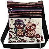 Flache Umhängetasche Schultertasche Stofftasche Tragetasche Messenger Bag für Damen Bestickter Ethno Style mit niedlichem Eul