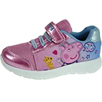 Girls Peppa Pig Glitter Trainers Hook And Loop Sports Shoes Kids Childrens Size UK 5-11