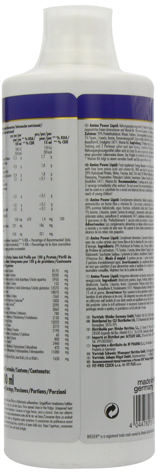 71 OzNGT7XL - Weider Amino Power Liquid 1L Energy, Essential Amino Acids, L-leucine, Free Taurine, Vitamin B8