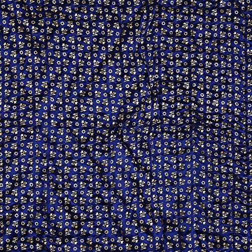 JaipurFabric Navy Blue Base Golden Floral Print Silk Double Quilt