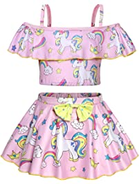 2d2eeedfd1eb5 AmzBarley Unicorn Swimming Costume Swimsuit Girls Kids Two Piece Swimwear  Children Off Shoulder Unicorns Swim Suit