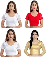 Fressia Fabrics Women's Stretchable Readymade Saree Blouse Crop Top Choli Pack Of 4