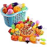 Tosbess Jeu D'imitation de Cuisine Jouet - 40 pièces Set Jouet à Couper - Jeu de Cuisine legumes Fruits Jouet éducatif pour Bébé et Enfants