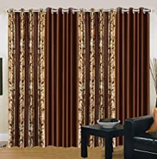 Super India Combo Pack Curtains (Set Of 4) 2 Floral 2 Plain Brown