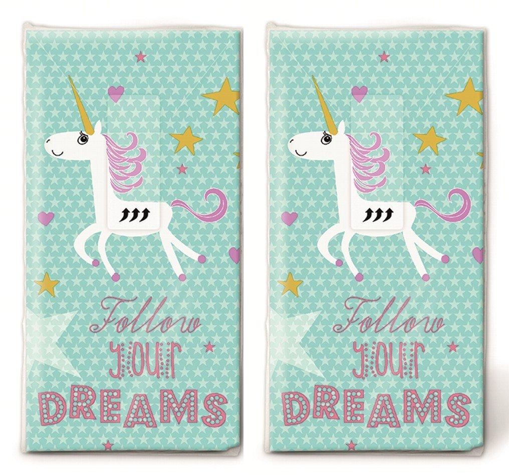 20�Fazzoletti (2�X 10) Unicorno nel cielo stellato/bambini/Compleanno