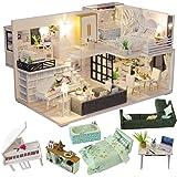CUTEBEE Een miniatuur van een poppenhuis met daarin meubels,DIY houten poppenhuiskit en stofdichte en muziekdoos,Creatieve ka