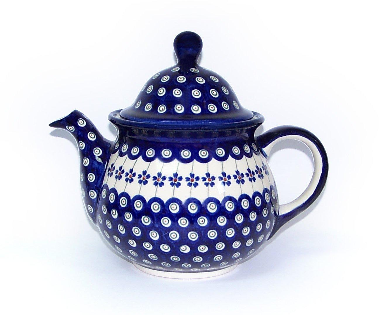 Blue Rose Polish Pottery Flowering Peacock Large Teapot