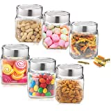 Treo -Mini Cube Jar& Kitchen Holder Container Glass_180 ml Glass Food Storage (Pack of 6, Clear)