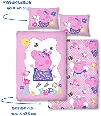 Peppa Wutz Mädchen-Bettwäsche · Kinderbettwäsche/Babybettwäsche · Lila, Rosa, Pink · PEPPA PIG Sunny Day · Wendebettwäsche · Kissenbezug 40x60 + Bettbezug 100x135 cm - Reißverschluss - 100% Baumwolle