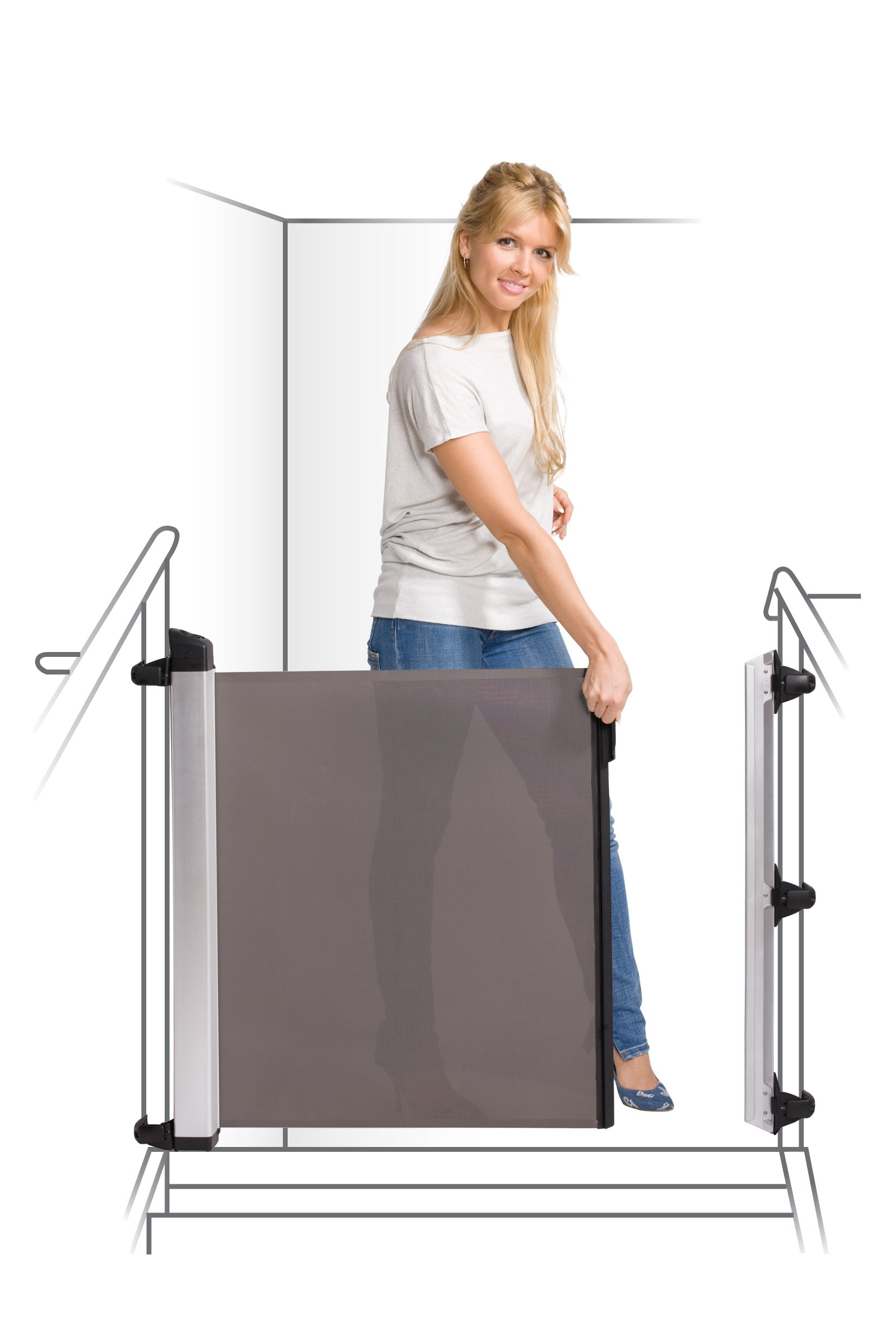 Lascal KiddyGuard Avant Baby Safety Gate Black Lascal Safety Gate discètes on easy to use one handed The curtain can extends to protect any space up to 120cm wide and 80cm height Designed to withstand an impact of 100kg 6