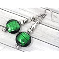 Orecchini in acciaio inox Venezia e perle in vetro di Murano verde scuro