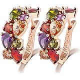 ZUMUii Butterme Elegante Fibbia Orecchio Colorati squisita Cristallo Presente Placcato Oro zirconi Perno Regalo Gioielli orec