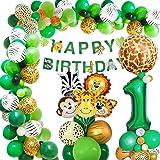 Djungel födelsedag dekoration 1 år, AcnA födelsedagsdekoration pojkar 1 år, barnfödelsedag dekoration safari Happy Birthday d