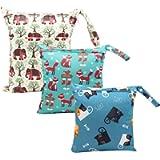 Wet Bag, HOTLIKE Dry Wet Bag, 3 PCS Nappy Bag for Cloth, Diapers, Travel Bag Organiser Waterproof Reusable Produce Bags…