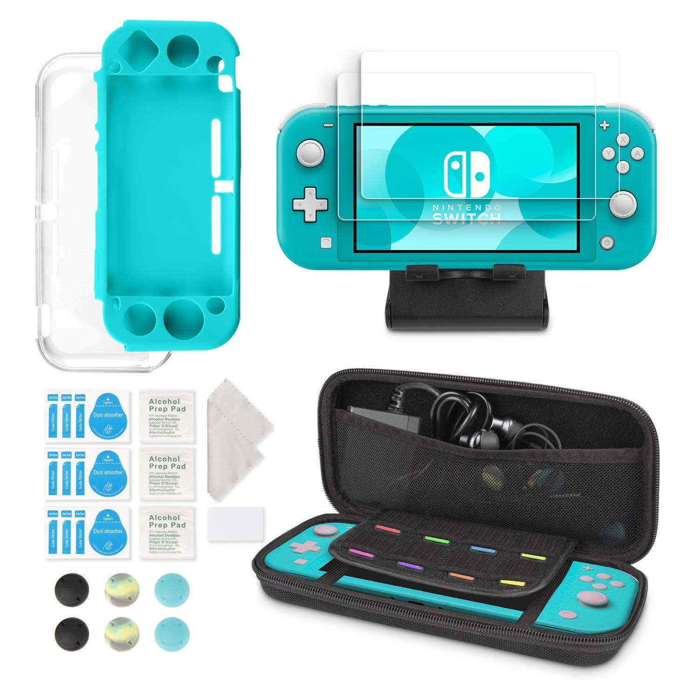 Kit d'Accessoires 6-en-1 pour Nintendo Switch Lite – Younik Étui de Transport Nintendo Switch Lite/Couverture Transparente/Protecteurs d'Écran/Support Réglable/Capuchons de Joystick