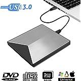 Externes DVD Laufwerk, M.way 3.0 USB-A ultradünne DVD Player PC, tragbare DVD/ CD Brenner für Laptops unter Windows 2003 / XP/ 7/ 8, Win10, Mac OS, Vista 7/ 8 - Aluminiumlegierung Silber
