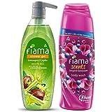 Fiama Lemongrass And Jojoba Clear Springs Shower Gel, 500ml & Fiama Scents Juniper and Geranium Body Wash, 250 ml