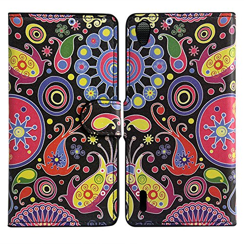 thematys Huawei Ascend P7 Kunst Leder KORALLEN Mix Design Schutz-Hülle Handy Case Flip Tasche Cover