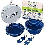 Bonza Ciotole per cani pieghevoli, pacco doppio, 5 tazze, diametro 18 cm, ciotole per cani portatili per animali di grandie p