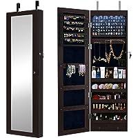 SogesHome Armoire à bijoux murale / porte, armoire de rangement pour organisateur de bijoux verrouillable à miroir…