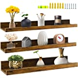 Genuine Decor 24 Inch Floating Shelves Wall Mounted Set of 3, Rustic Large Wall Shelf with Ledge for Bathroom Bedroom Kitchen