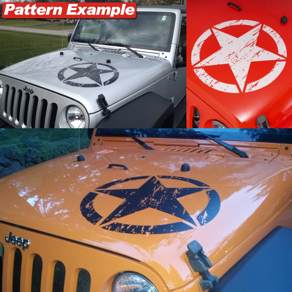 Jeep Wrangler Freedom Edition Star Hood Decal Sticker Matte - Custom windo decals for jeepsjeep hood decals and stickers custom and replica jeep decals now