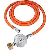 """Bade G607 - Regulador de presión de gas (50 mbar, manguera de 1,5 m, conexiones de rosca izquierda de 1/4"""")"""